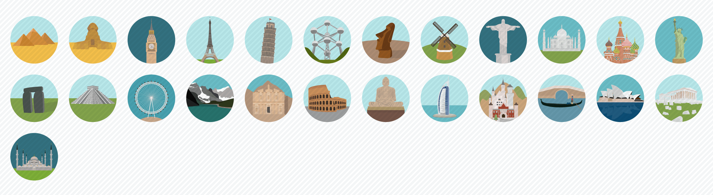 World_Monuments_Flat_Icons