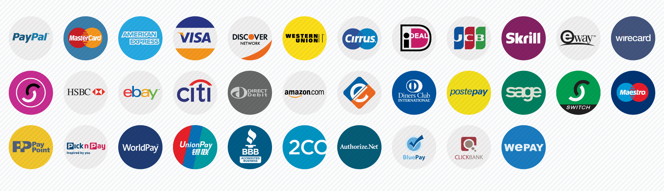 payment methods flat icons set