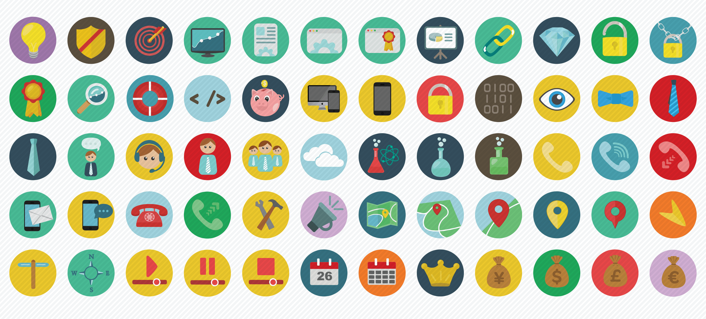 sep flat icons set