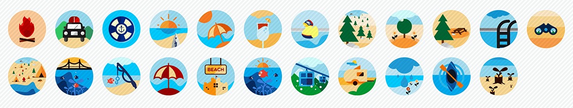 recreational activities flat icons set