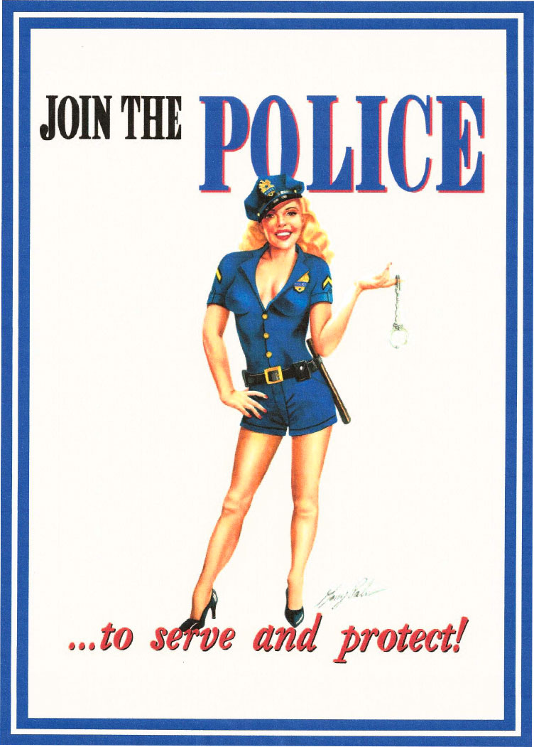 Sofa Woman Route 66 Store -join The Police Pinup Girl Blechschild