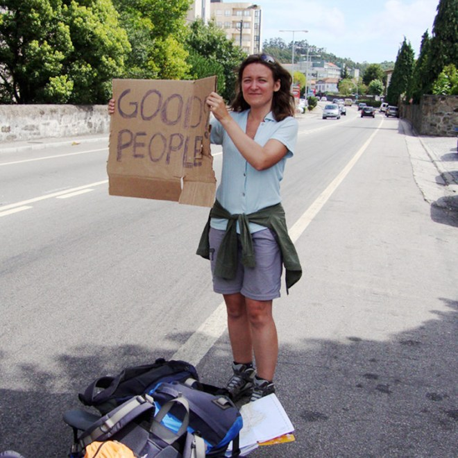 Ania hitchhiking in Portugal copy