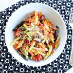 Colorful veggie pasta salad