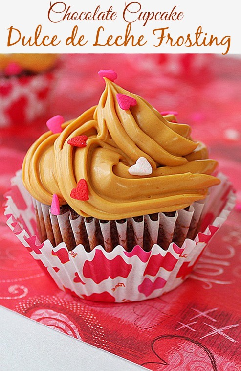 A simple recipe for irresistible fluffy chocolate cupcakes topped with dulce de leche frosting.