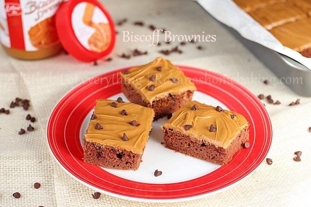 Chocolate Chip Biscoff Brownies with Biscoff Frosting    roxanashomebaking.com/