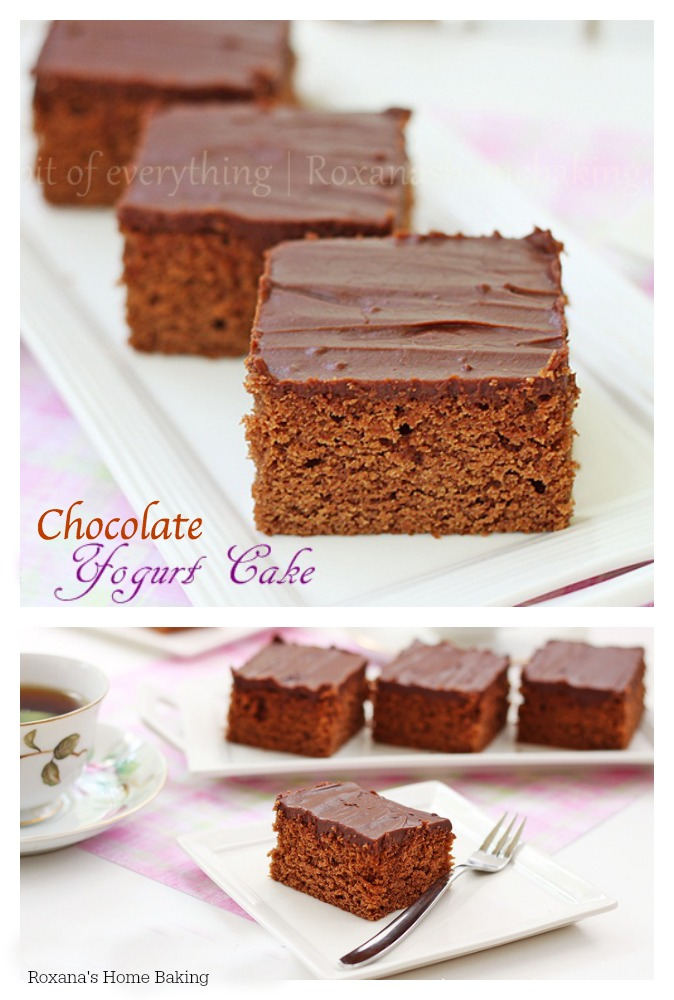 Moist and tender chocolate yogurt cake. A perfect accompaniment to a cup of coffee or as an after dinner treat.