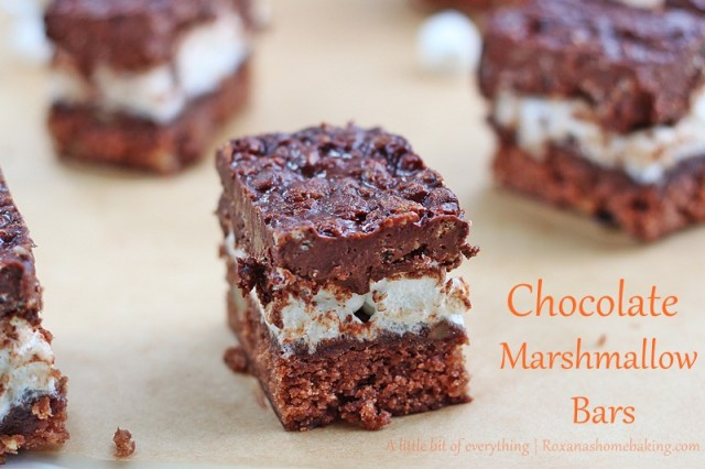 Chocolate Marshmallow Bars | roxanashomebaking.com/