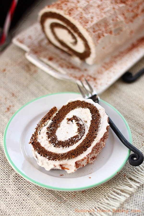 Moist gingerbread cake filled with spiced creamy filling from Roxanashomebaking.com