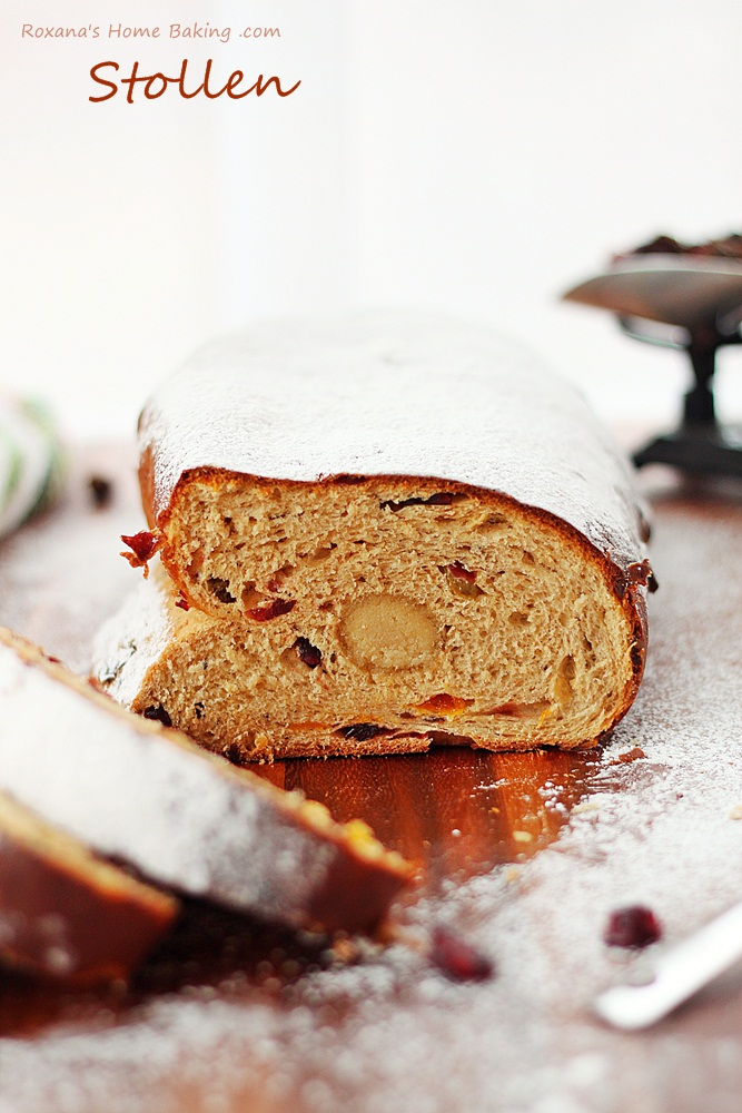 A sweet German yeast bread, stollen is packed with rum soaked fruit and marzipan and dusted with powder sugar for a winter look.