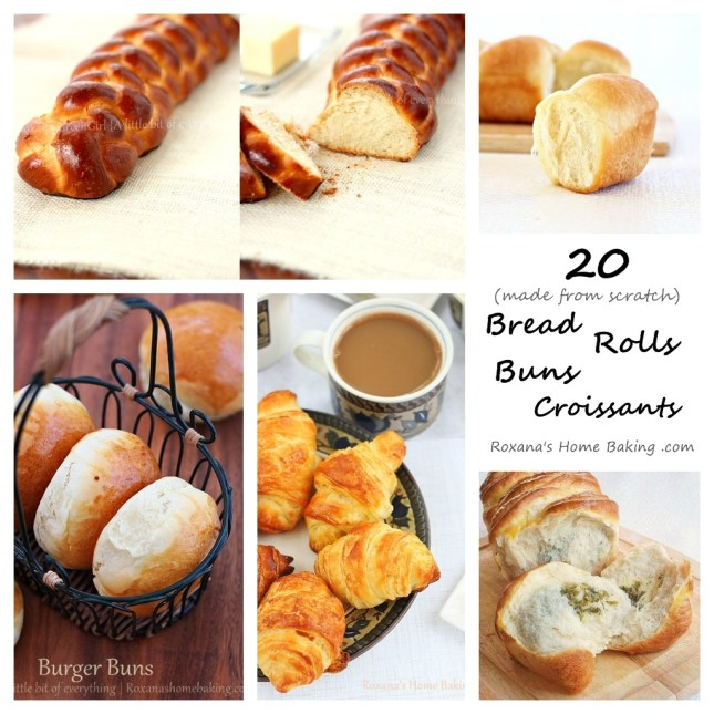 20 (made from scratch) bread recipes from Roxanashomebaking.com