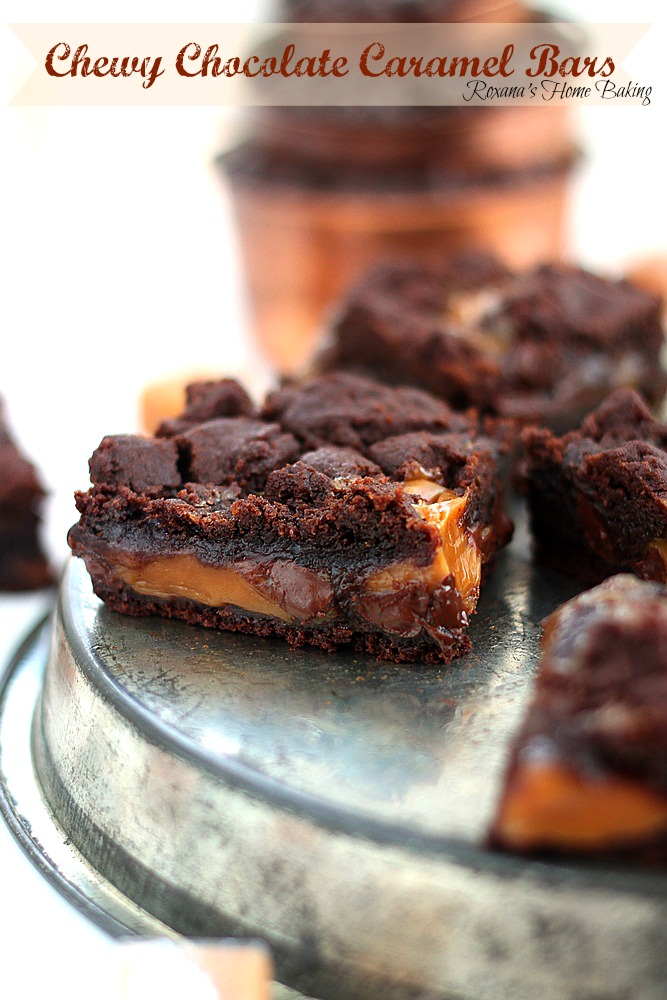 Chewy chocolate caramel bars from Roxanashomebaking.com  Warm out of the oven, soft cookie streusel topping, rich melting chocolate, ooey gooey caramel and fudgy brownie cookie.