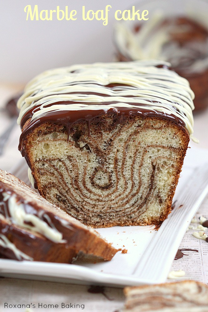 Chocolate and vanilla marble loaf cake from Roxanashomebaking.com