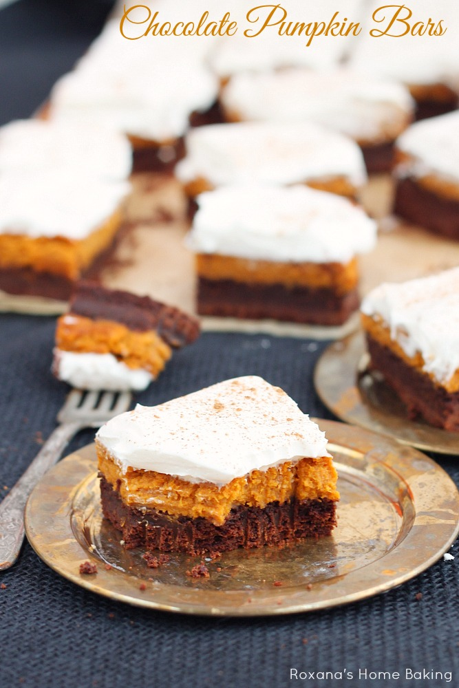 Perfect for fall potlucks, these chocolate pumpkin bars feature layers or rich chocolate cake, silky pumpkin pie and light frosting. Recipe from Roxanashomebaking.com