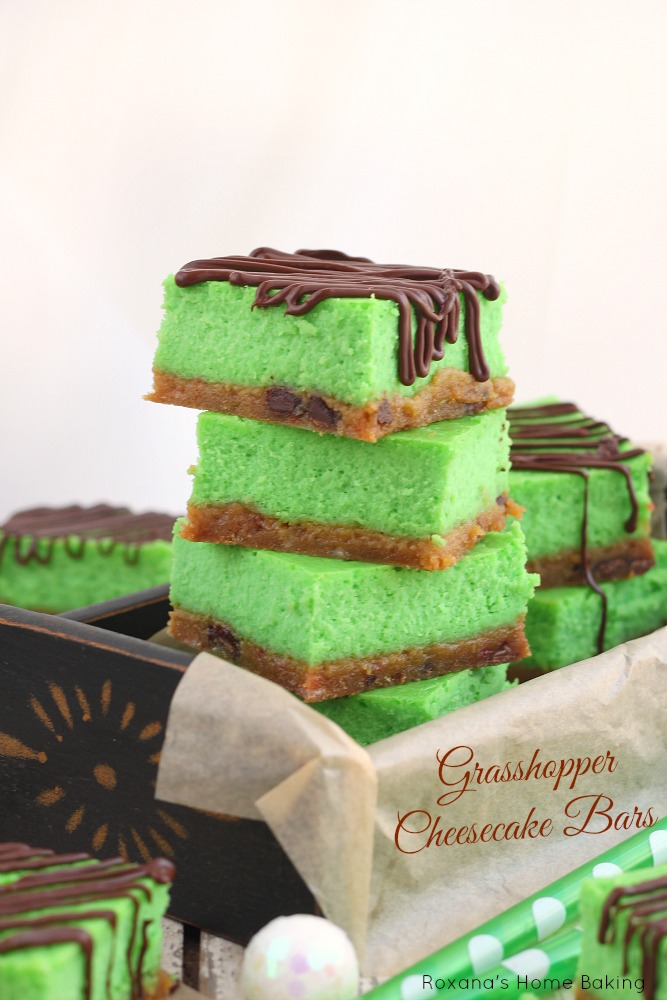 Grasshopper cheesecake bars