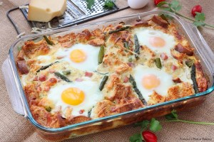 caramelized onion asparagus egg strata recipe
