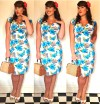 Collectif Dolores dress in blue hibiscus Roxy Vintage Style