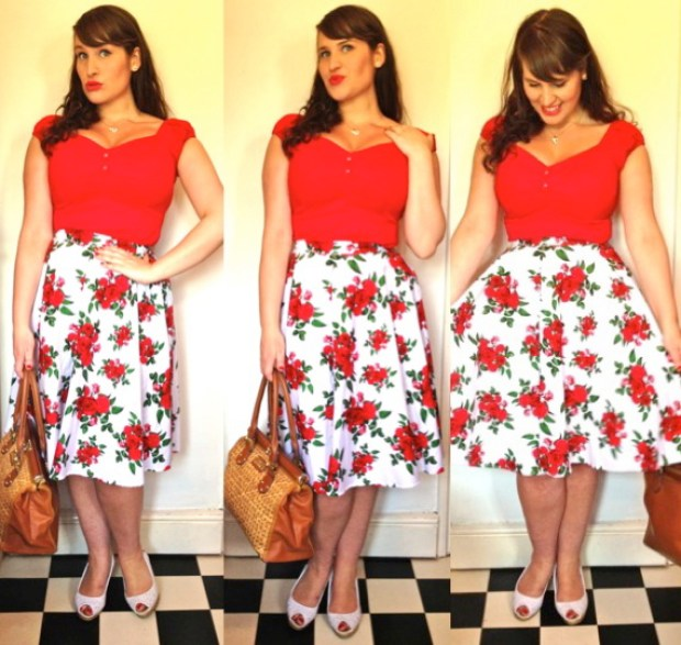 Roxy Vintage Style 50s floral Hell Bunny skirt