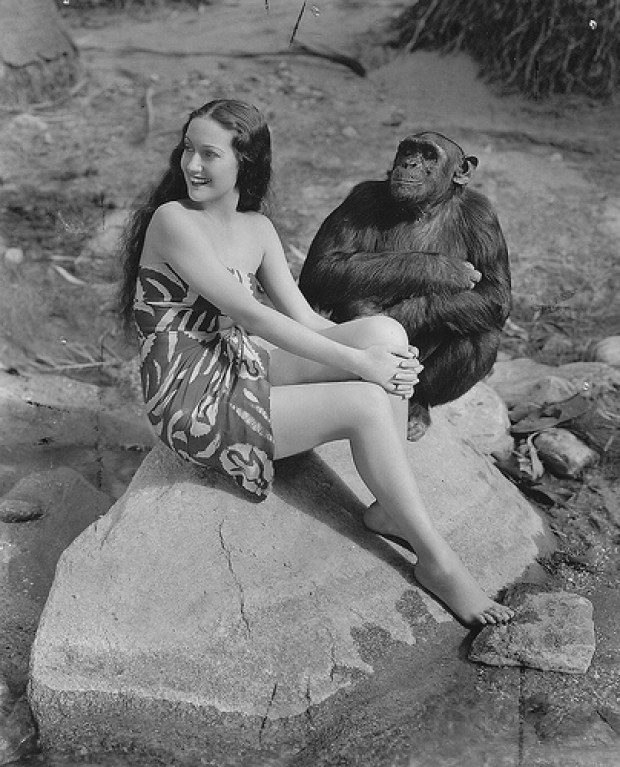 Dorothy Lamour and Gogo the Chimp