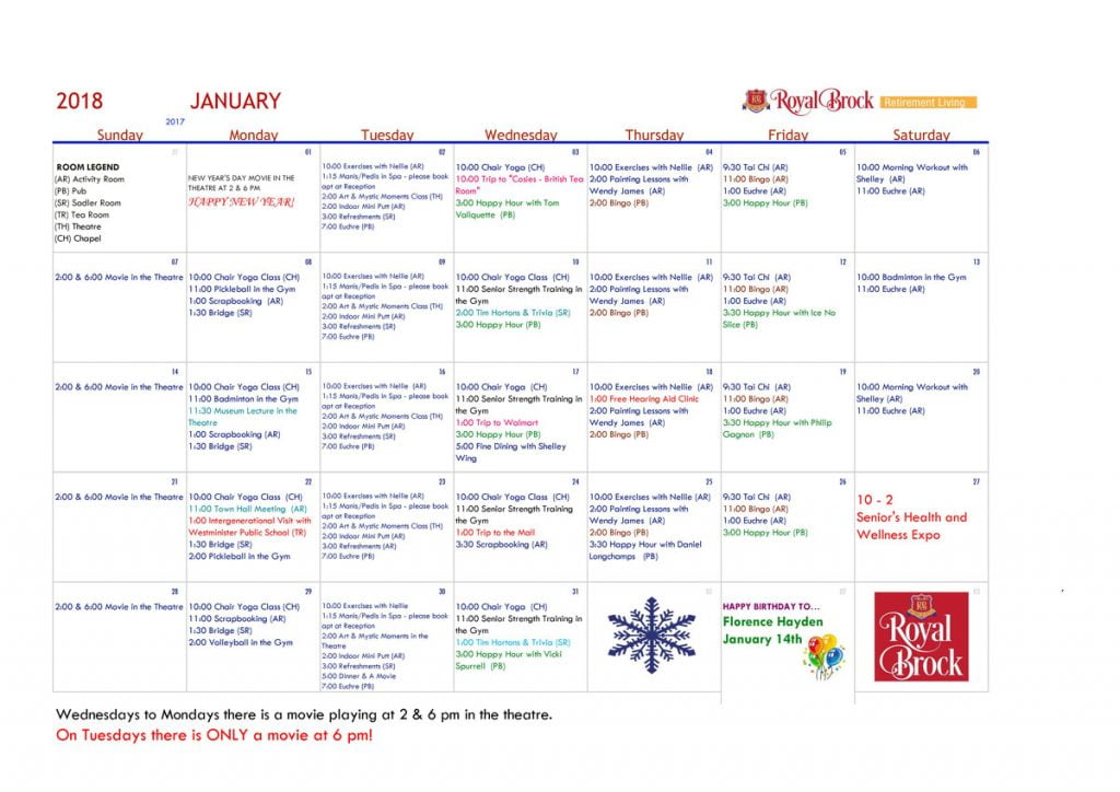 January 2018 Activity Calendar - Wellness! Royal Brock Brockville