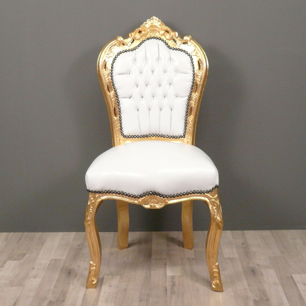 6 Chaises Blanches Chaise Baroque Blanche Et Or - Canapé Baroque