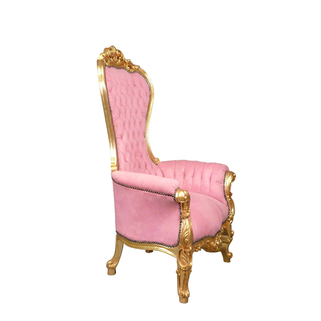 Fauteuil Baroque Trone Rose Chaise