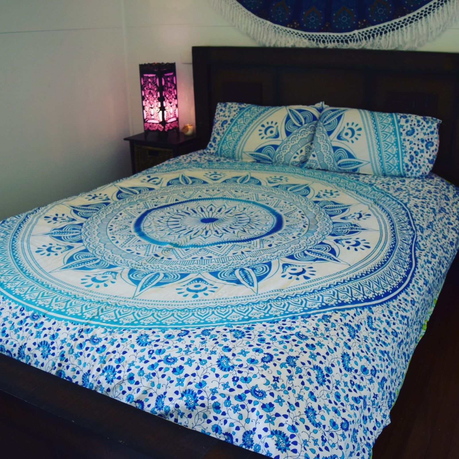 Single Doona Cover Blue White Ombre Medallion Circle Duvet Cover Set With 2 Pillow Covers
