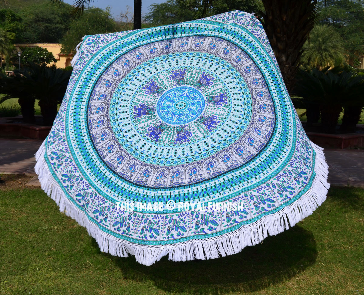 Big W Round Towel White Multi Birds Circle Mandala Round Beach Towel