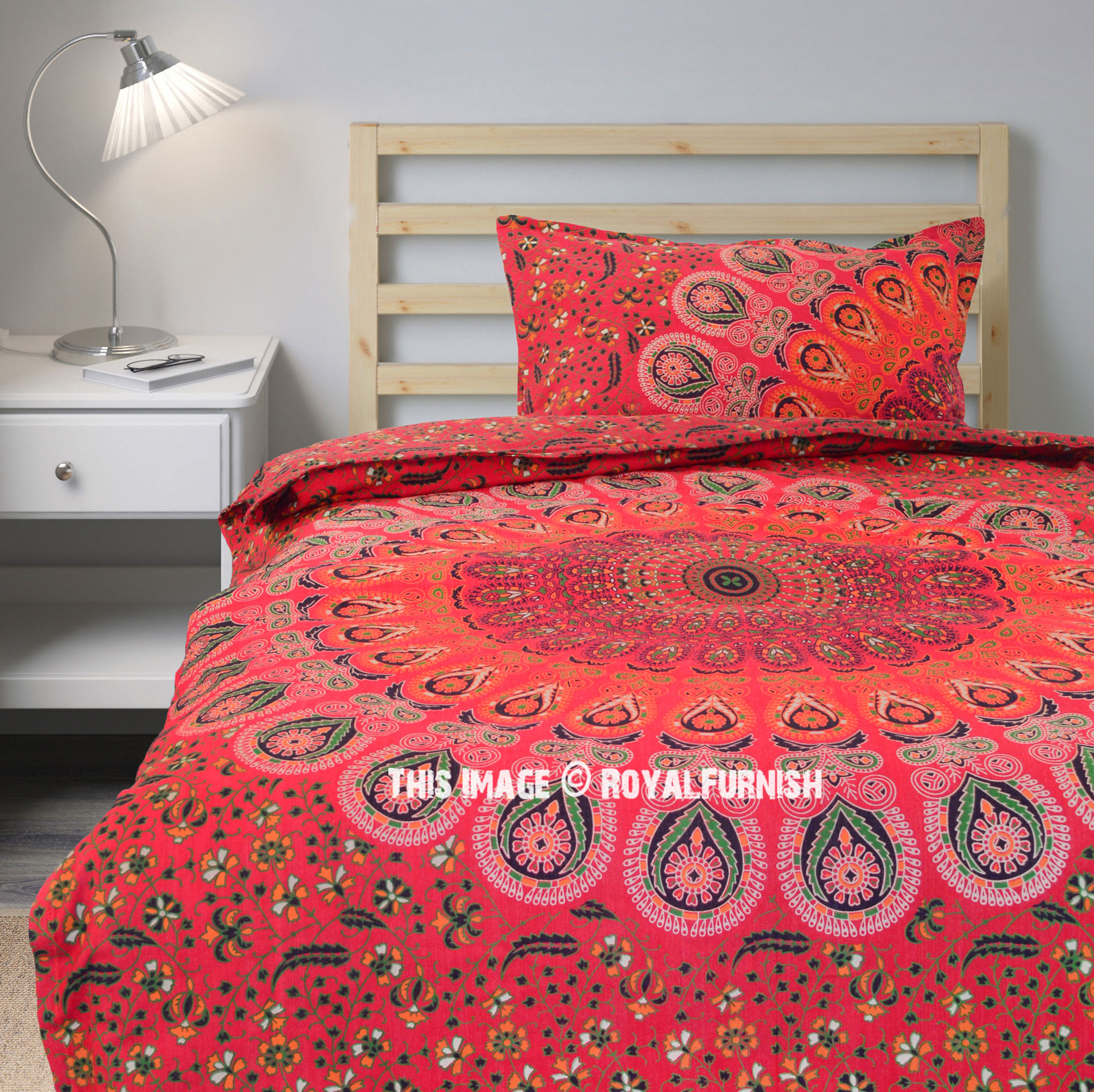 Boho Quilt Covers Australia Twin Red Peafowl Boho Bedding Mandala Duvet Cover Set With One Pillow Cover
