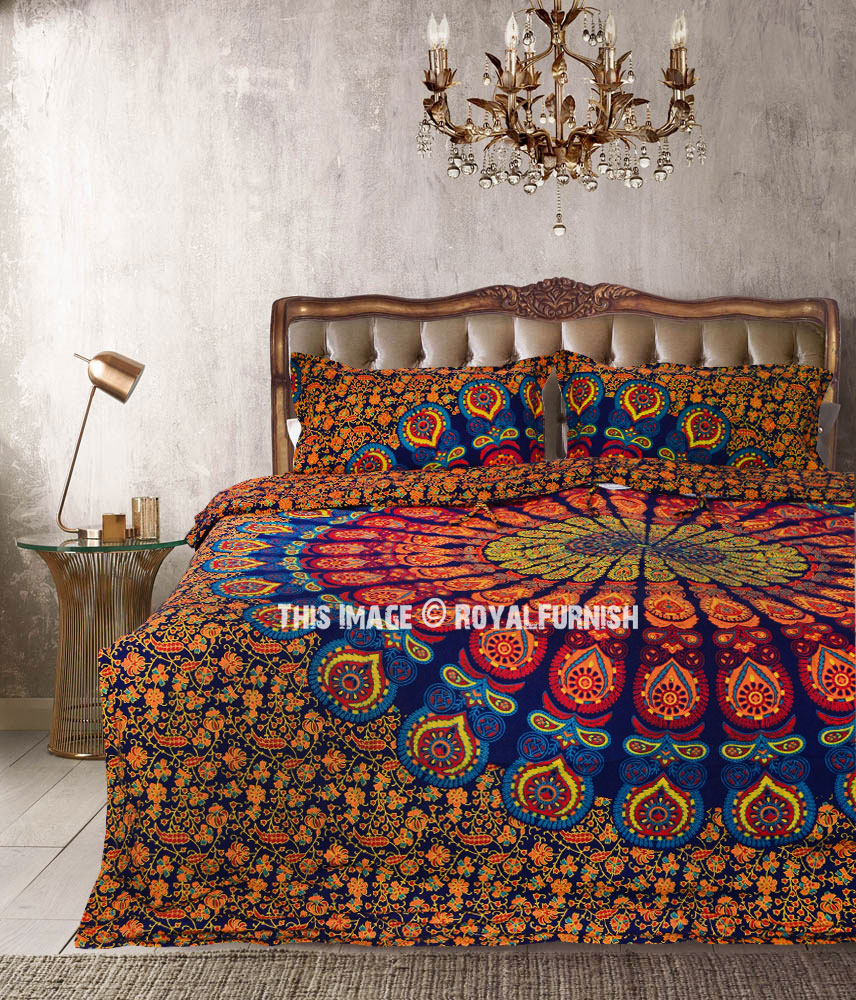 Boho Quilt Covers Australia Blue Yellow Hippie Medallion Mandala Boho Duvet Covers With Set Of 2 Pillow Covers
