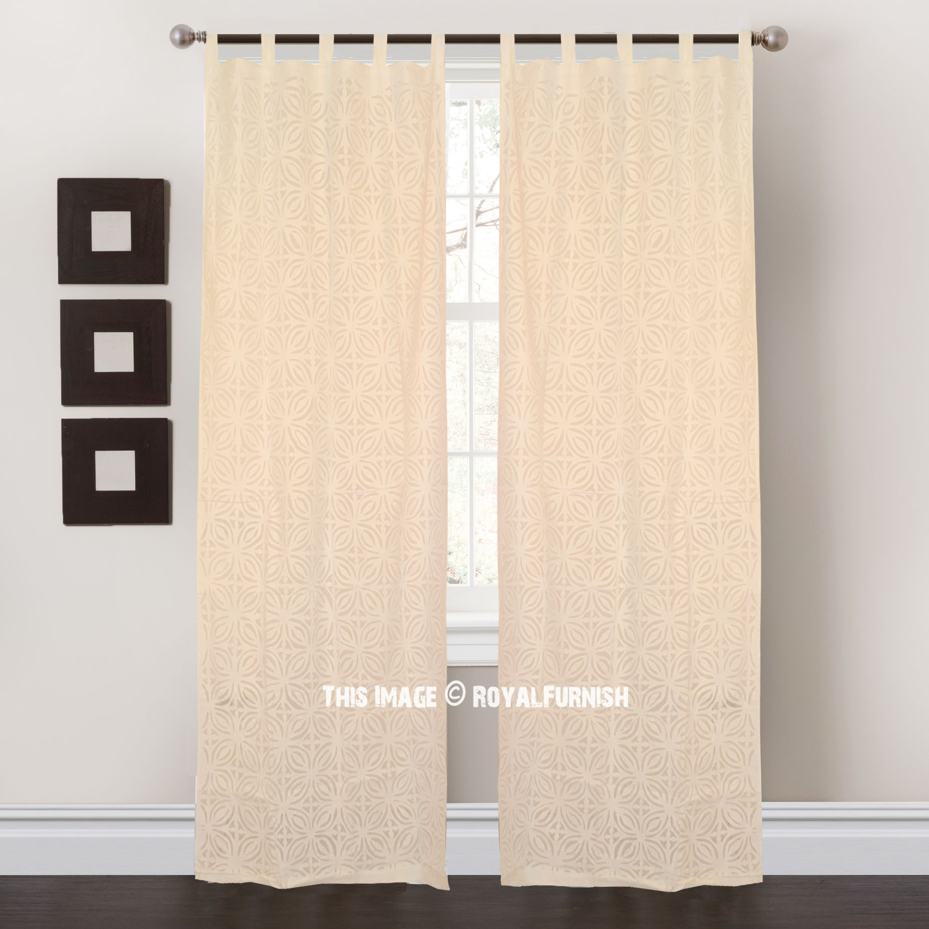 White Cutwork Design Sheer Cotton Curtains Set Of 2 Royalfurnish Com