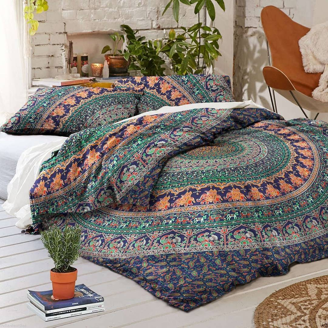 Boho Quilt Covers Australia Blue Multi Jumbo Medallion Boho Bedding Mandala Duvet Cover Set With 2 Pillow Cases