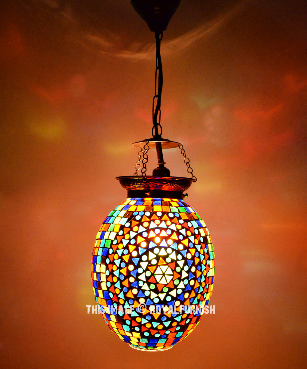 Multi Color Mosaic Glass Hanging Turkish Chandelier Light Lamp Royalfurnish Com