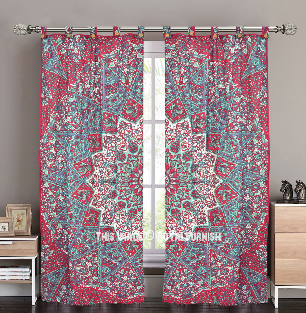 Cotton Curtain Panels Maroon Multi Star Cotton Curtain Panels Pair