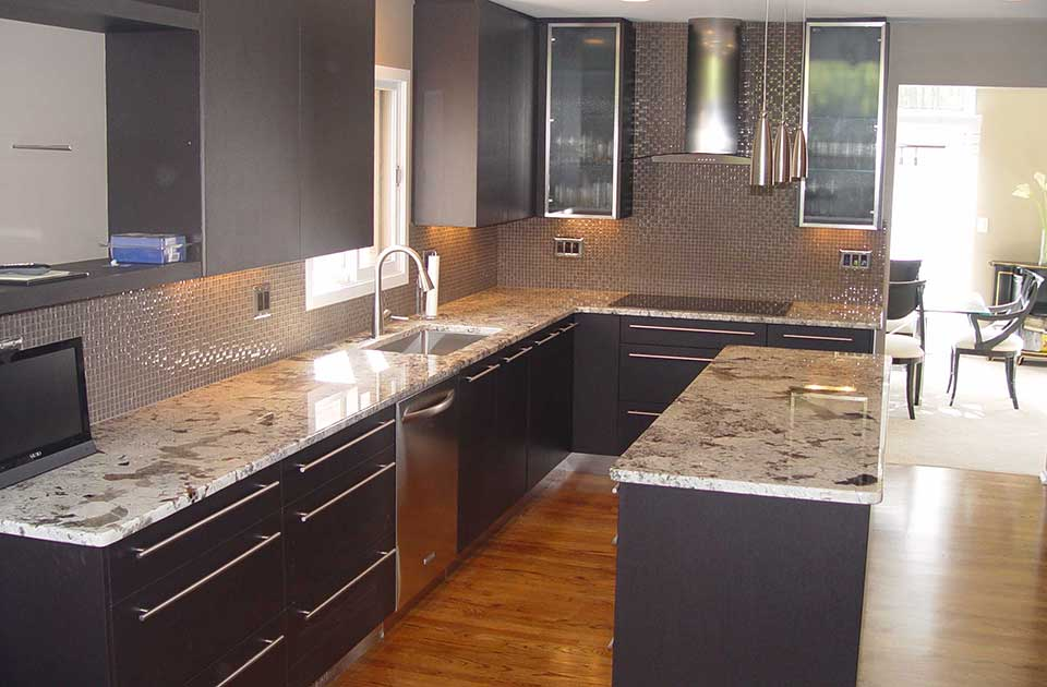 Maple Kitchen Cabinets With Gray Walls Residential Granite Countertop Installation - Royal Granite