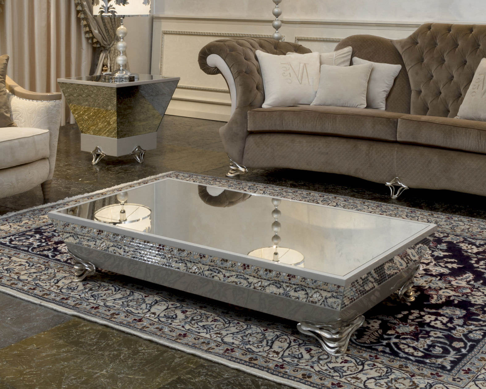 Beveled Mirror Designs Mirrored Coffee Table Tray Roy Home Design