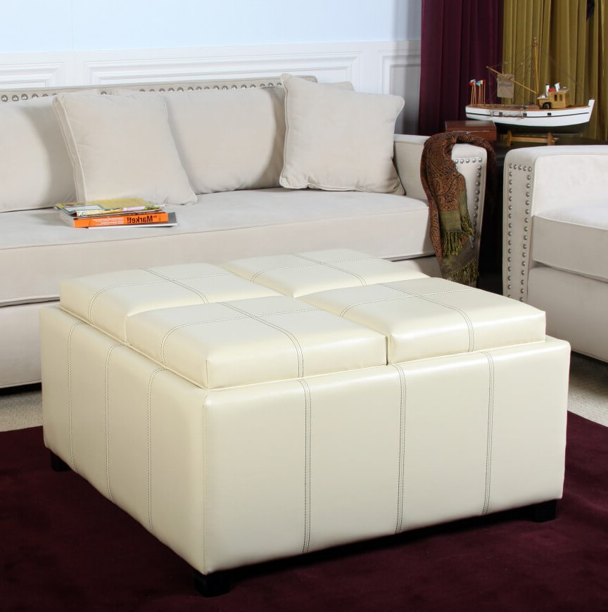 Ottoman Couch White Leather Ottoman Coffee Table Furniture | Roy Home Design