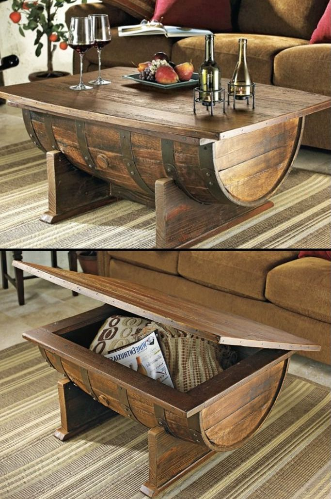 Walnut Coffee Table Wooden Barrel Coffee Table Furniture | Roy Home Design