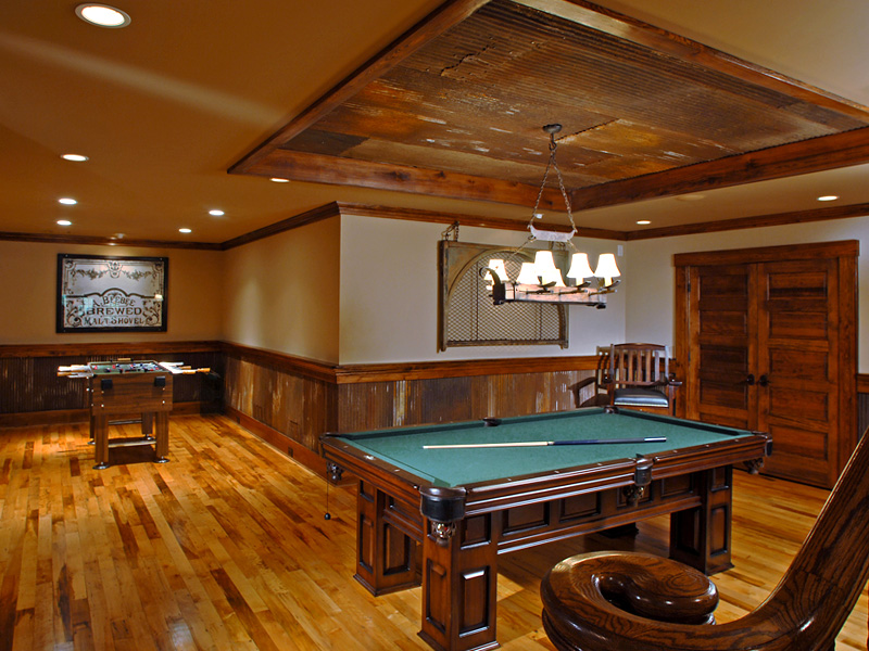 Brick Craftsman House Recreation Room - Richard Padgham Fine Custom Homes Inc.