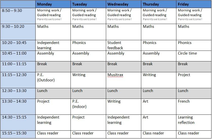 Class Timetable Class 3AG - class timetable