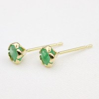 18K Gold 0.6ct Emerald stud earrings Flower type kawaii ...