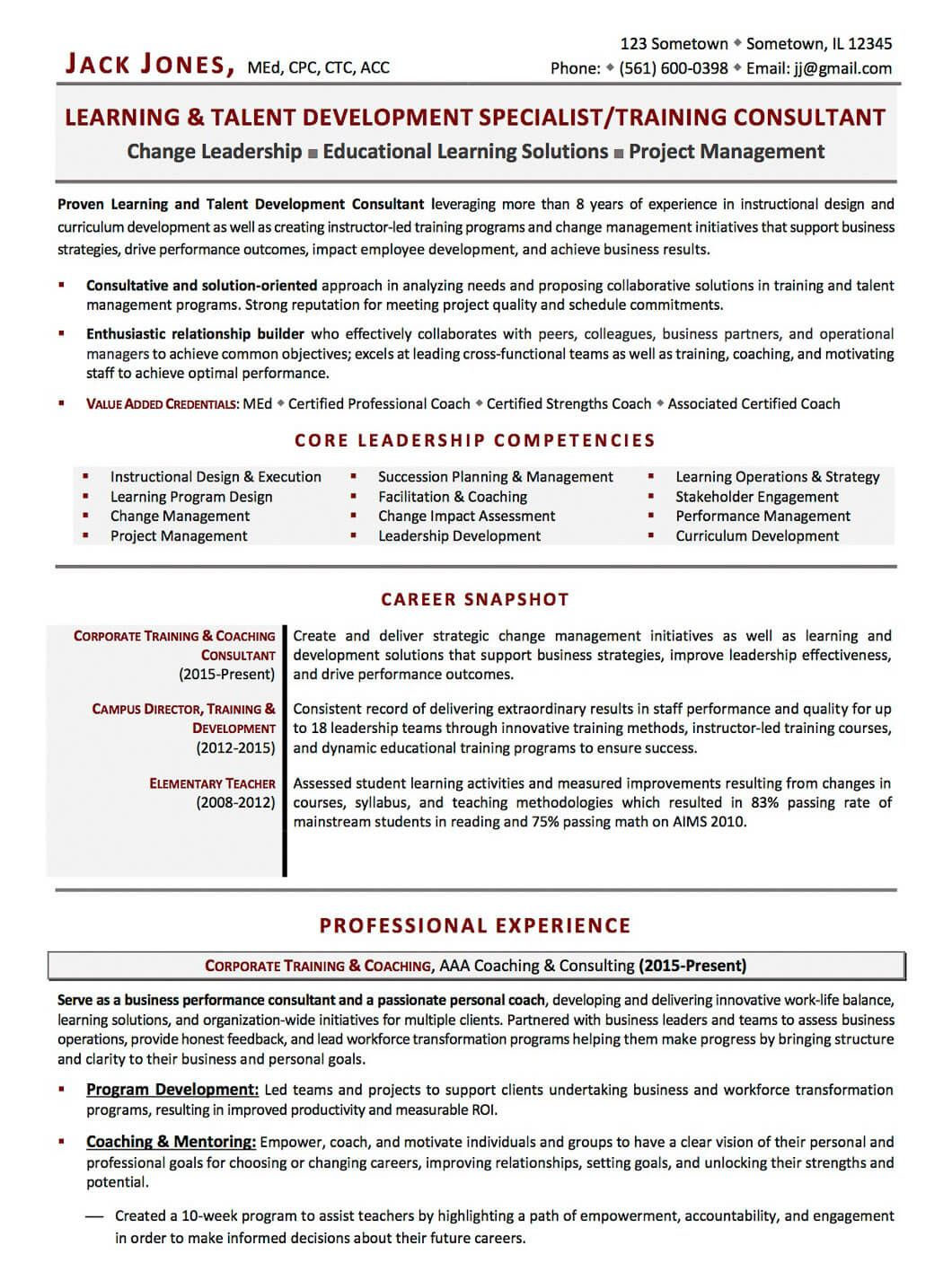 resume for business development consultant