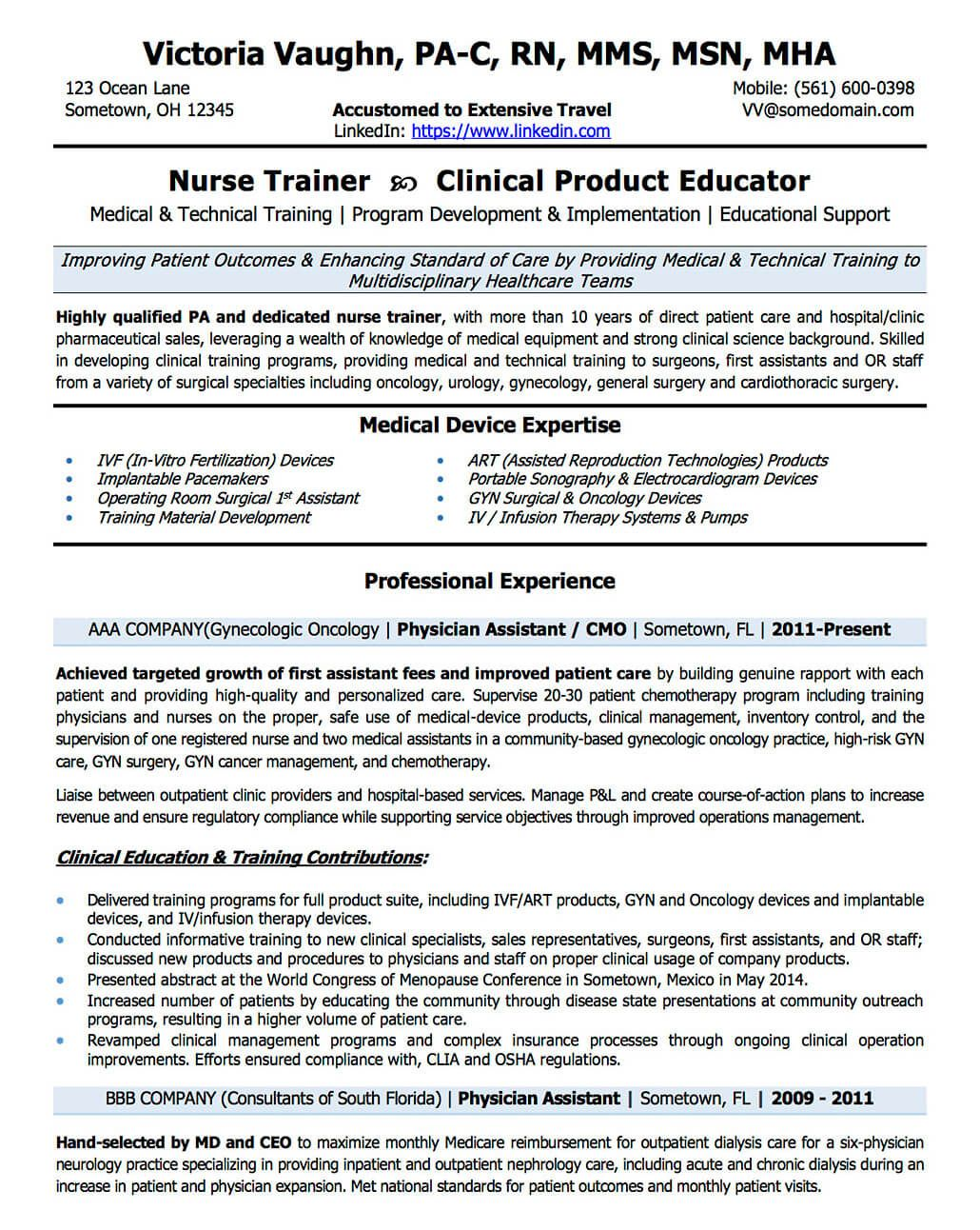 healthcare trainer sample resume catering assistant manager sample 4 transition resume from nurse to clinical trainer - Assistant Manager Sample Resume