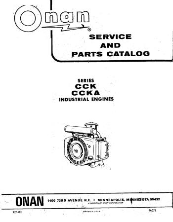 Onan CCK, CCKA Engine Parts  Service Manual
