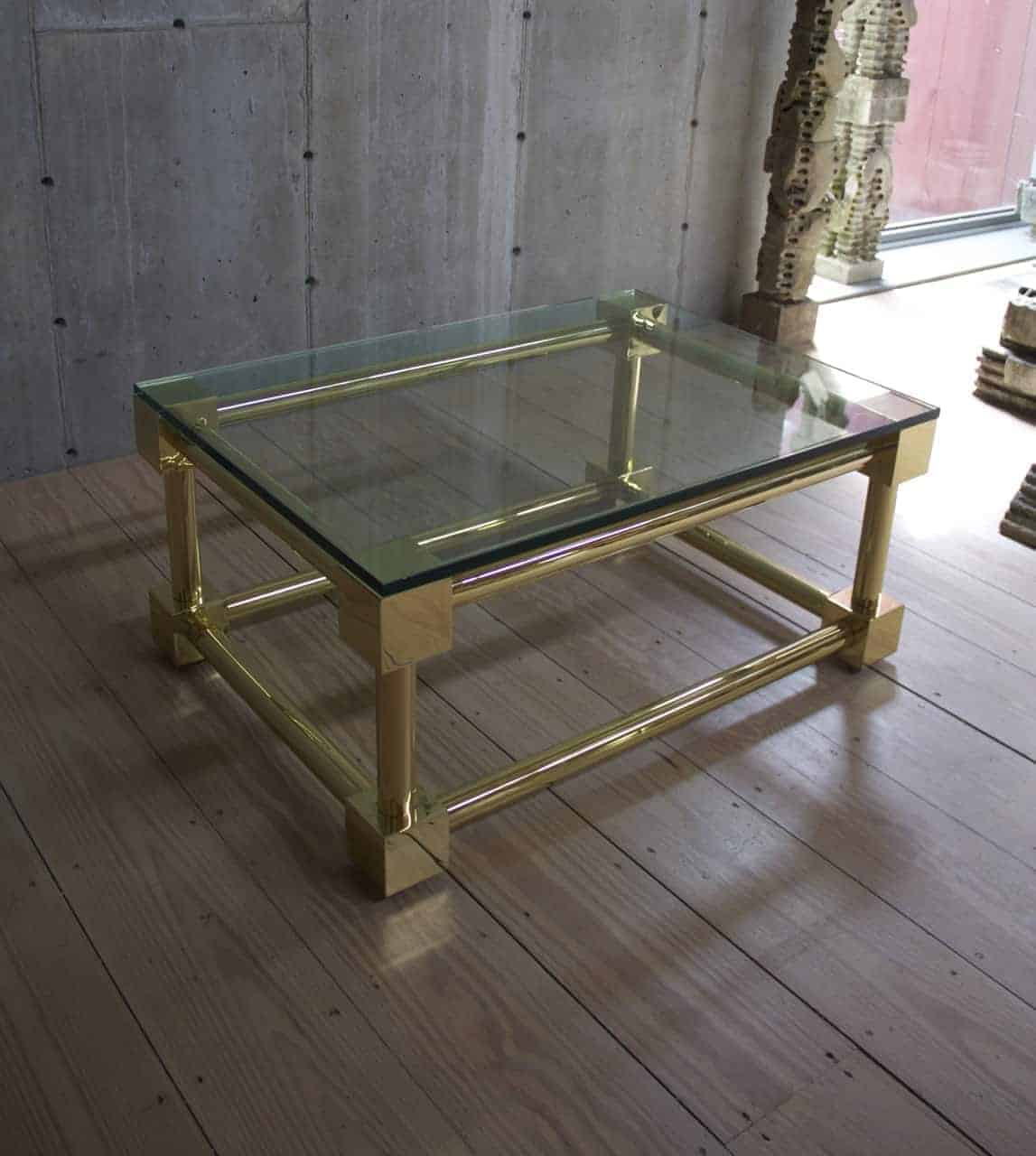 Messing Couchtisch Mit Glasplatte Antique Polished Brass Coffee Table With Glass Top Rt Facts