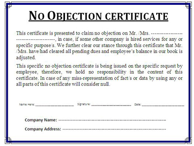 noc no objection certificate format - format of non objection certificate
