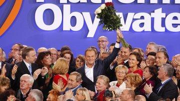 Дональд Туск празднует победу своей партии на выборах в сейм