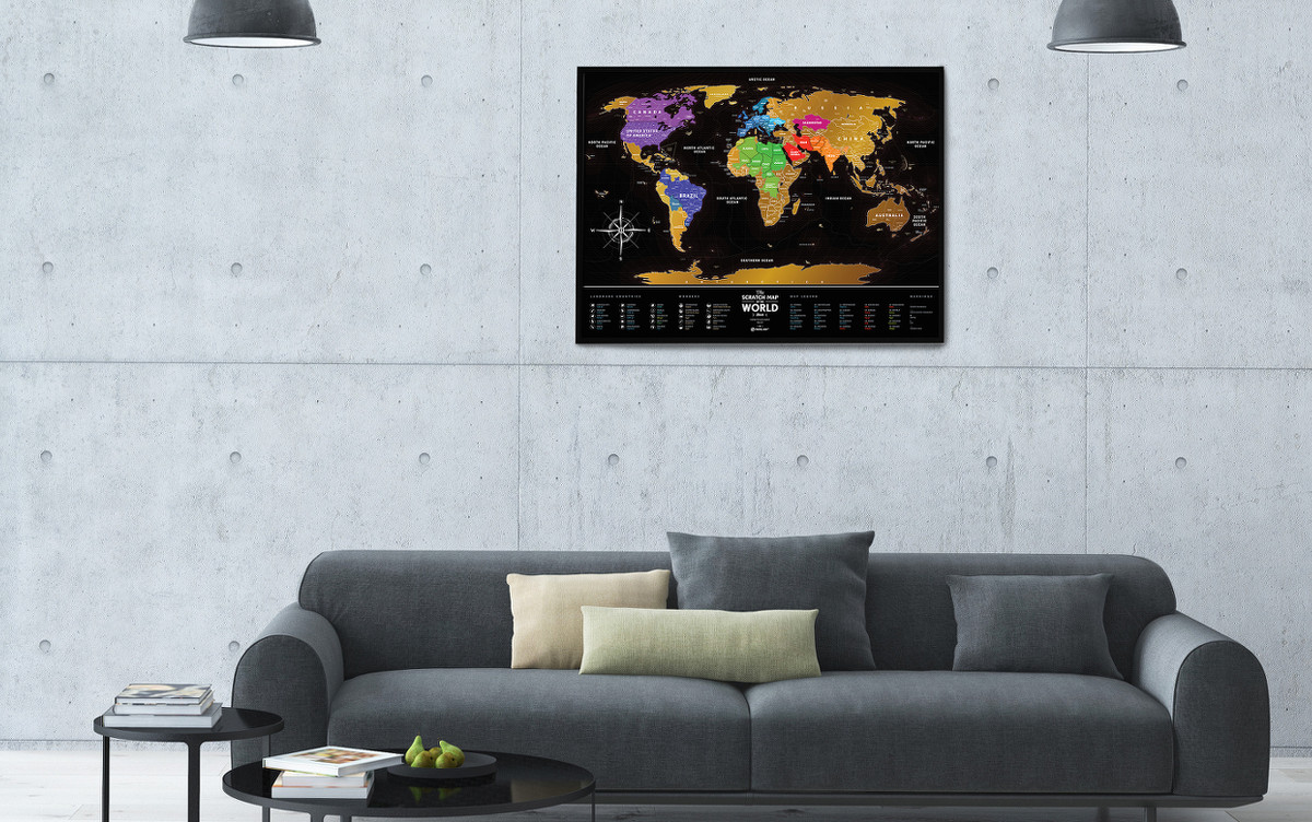 Weltkarte Markieren Rubbelkarte Welt Travel Map Black World