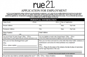 picture regarding Forever 21 Printable Application identify Task Software For Rue 21 Pattern Purchaser Assistance Resume