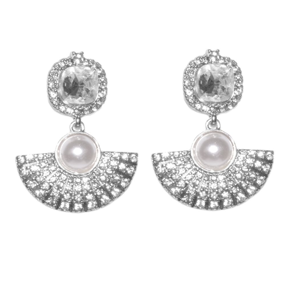 Art Deco Style Earrings Uk Fabulous Fashion Jewellery Art Deco Statement Earrings With Crystal And Pearl M541
