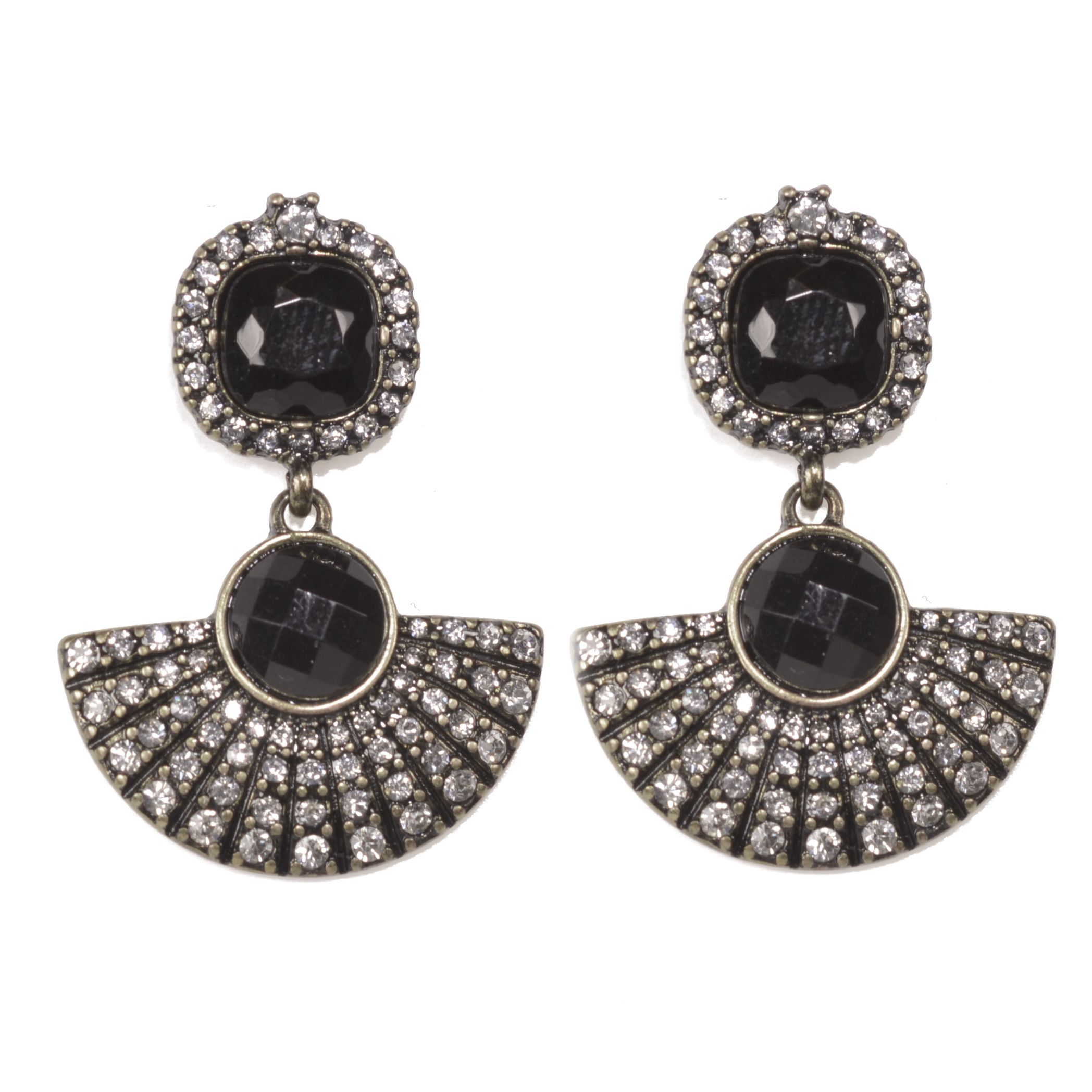 Art Deco Style Earrings Uk X Nl Fabulous Fashion Jewellery Art Deco Statement Earrings With Black Crystal Detail
